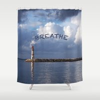 breathe Shower Curtains featuring breathe by gzm_guvenc