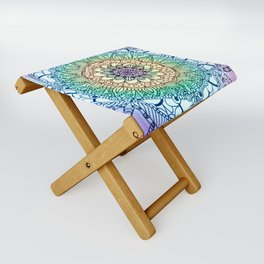 Purple Butterfly Mandala Folding Stool