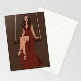 Lady on a swing Stationery Cards