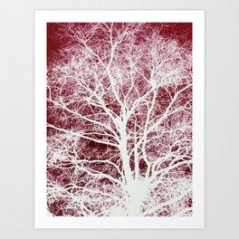 Red tree silhouette Art Print