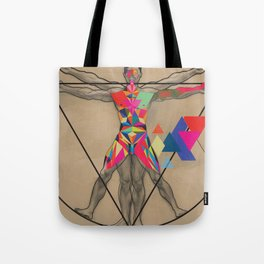 Vitruvian Man and a Burst of Color Tote Bag