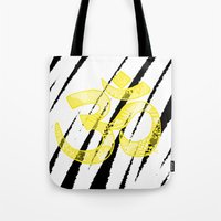 om Tote Bags featuring OM by Rebecca Bear