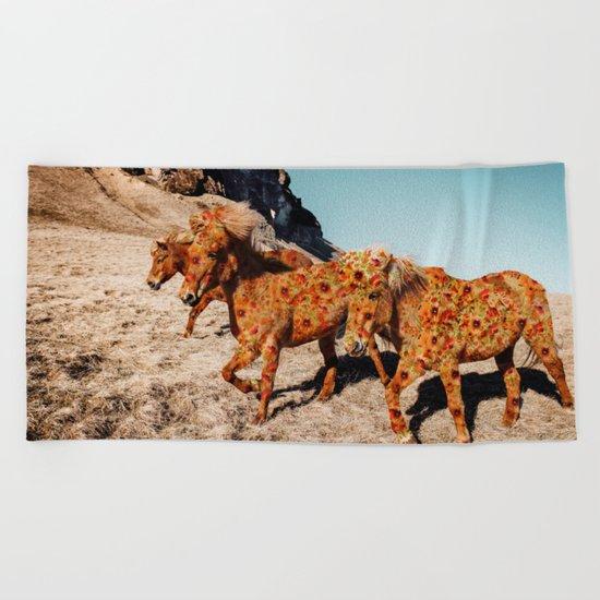 Wild Horses On Flowers Beach Towel