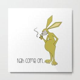 conejo fumador Metal Print