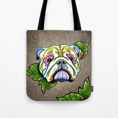 Day of the Dead English Bulldog Sugar Skull Dog Tote Bag