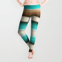 Teal, Brown and Navajo White Southwest Serape Blanket Stripes Leggings