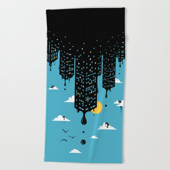 Melting Skyline Beach Towel