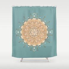 Sand and Turquoise Seashore Mandala Shower Curtain