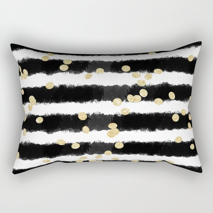 Modern black watercolor stripes chic gold confetti Rectangular Pillow