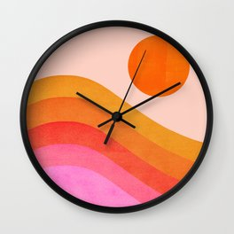 Abstraction_SUNSET_OCEAN_COLOR_POP_ART_Minimalism_009D Wall Clock