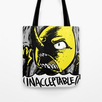 lemongrab Tote Bags featuring UNACCEPTABLE!!! by Eevachu
