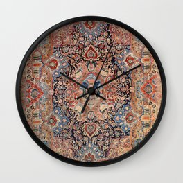 Persia Carpet 19th Century Authentic Colorful Black Blue Red Vintage Patterns Wall Clock