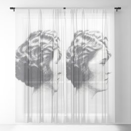 A portrait of Zelda Fitzgerald Sheer Curtain