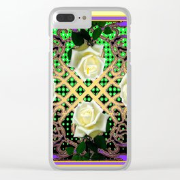 ORNATE ITALIAN STYLE WHITE ROSES Clear iPhone Case