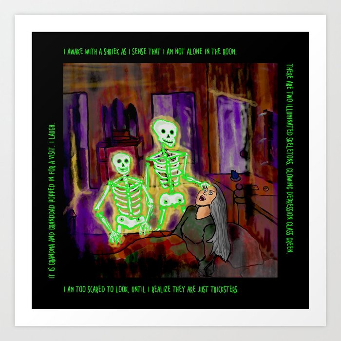Glowing Green Skeleton Dream Art Print