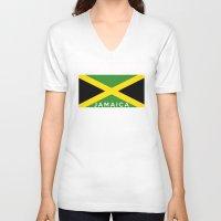 jamaica V-neck T-shirts featuring Jamaica country flag name text by tony tudor