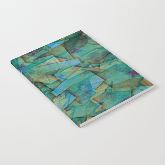 Fragments In blue - Abstract, fragmented art in blue Notebook