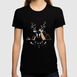 Christmas Geo Deer Gray T-shirt