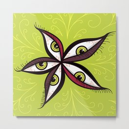 Tired Green Eyes Flower Metal Print