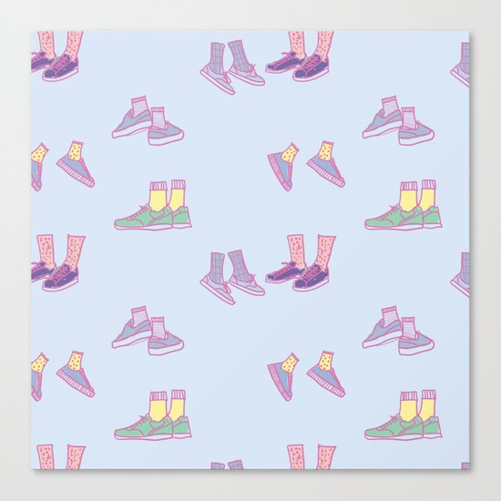 Pastel Walking Sneakers Canvas Print