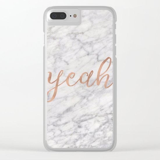 Yeah rose gold on marble Clear iPhone Case