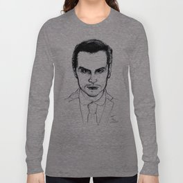 Andrew Scott as Jim Moriarty from Sherlock Etching Long Sleeve T-shirt