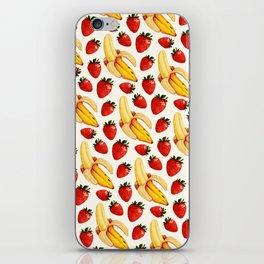 Strawberry Banana Pattern - White iPhone Skin