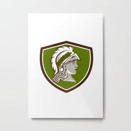 Minerva Head Crest Retro Metal Print