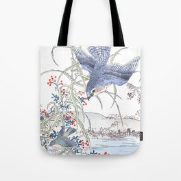 Kono Bairei - Hawk Chasing After Its Prey Over Swamp Water - Vintage Japanese Woodblock Print Art  Tote Bag