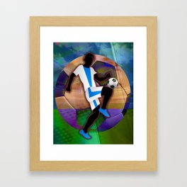 Soccer Player Silhouette Framed Art Print