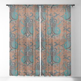 Medallion Paisley - vibrant colors Sheer Curtain
