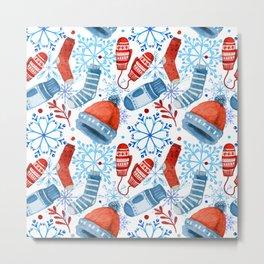 Christmas pattern with snowflakes and christmas stuff Metal Print