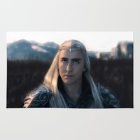 thranduil Area & Throw Rugs featuring Thranduil - Battlefield by LindaMarieAnson