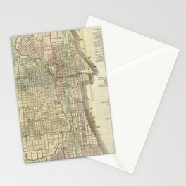 Vintage Map of Chicago (1857) Stationery Cards