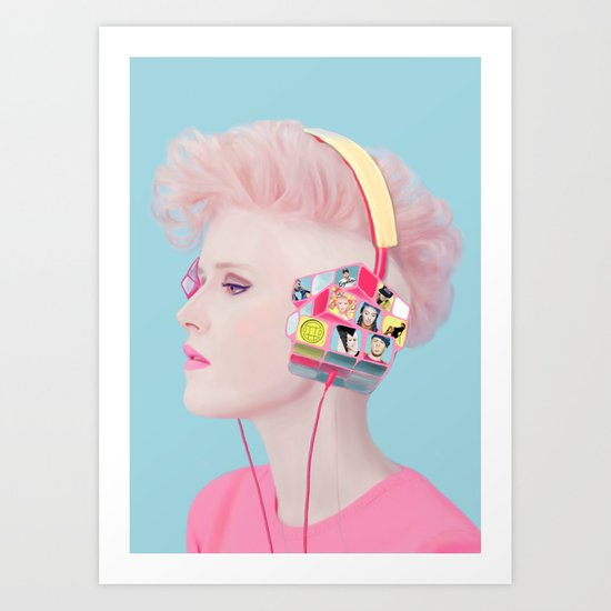 Rubik's headphones Art Print