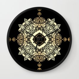 Golden Eastern ornament . Wall Clock