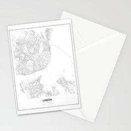 Lisbon, Portugal Minimalist Map Stationery Cards