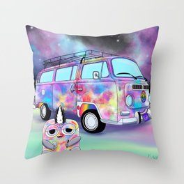 Wondrous & Whimzical Places: Funkadelic and his Groovy Magic Bus Throw Pillow