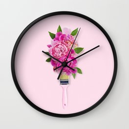 Peonies on Pink Wall Clock