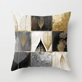 Fallen Gold Patchwork Throw Pillow