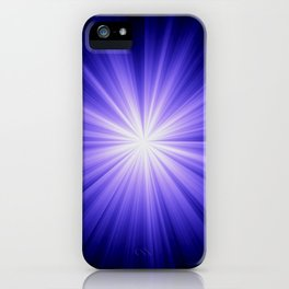 Blue and White Sunburst Abstract iPhone Case
