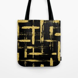 Gold glitter brush on black Tote Bag