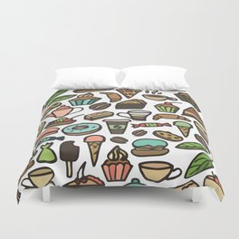 Coffee and pastry. Duvet Cover