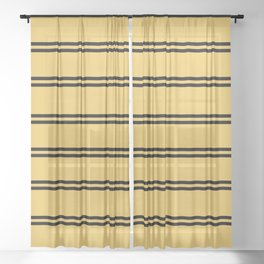 Yellow and Black House Colors Stripes Sheer Curtain