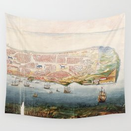 Vintage Pictorial Map of Macau China (1665) Wall Tapestry