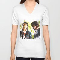 pulp fiction V-neck T-shirts featuring Pulp Fiction by Miquel Cazanya