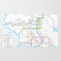 middle earth Area & Throw Rugs featuring Middle Earth Transit Map by mehmetikberker