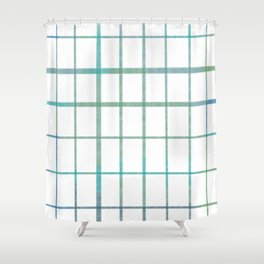 Green grid minimalist pattern Shower Curtain
