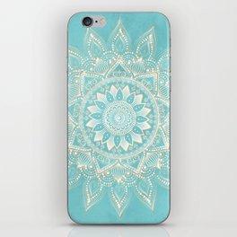 Elegant White Gold Mandala Sky Blue Design iPhone Skin