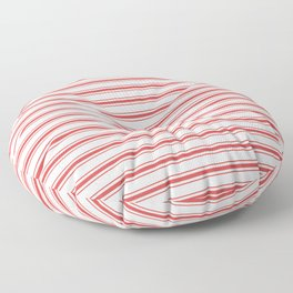 Mattress Ticking Wide Striped Pattern in Red and White Floor Pillow